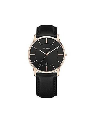orologio uomo bering 13139-466  acciaio rosa analogico  pelle nero