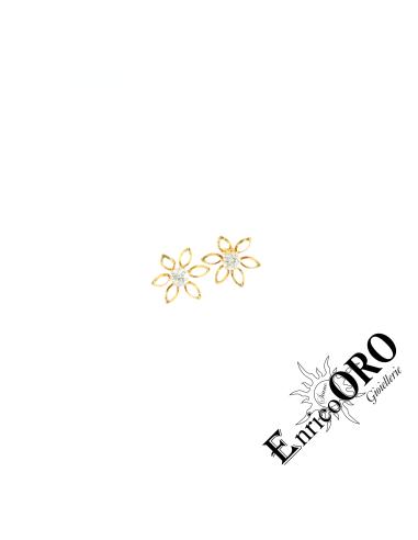 ORECCHINO DONNA X3637 ORO 750┬░ GIALLO PUNTO LUCE FIORE PETALI VUOTI Enrico Oro MEDI