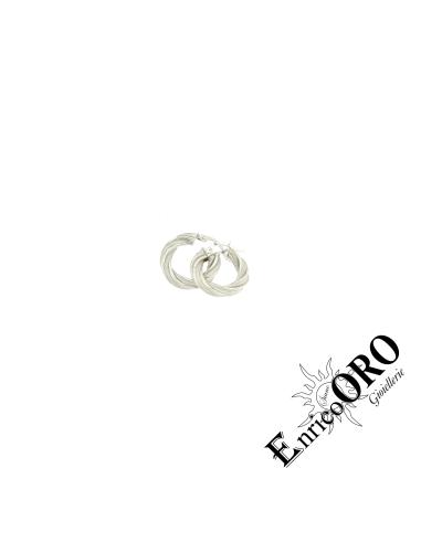 ORECCHINO DONNA S1873 ORO 750┬░ BIANCO SATINATO+LUCIDO Enrico Oro MEDI
