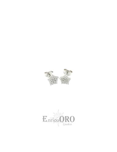 ORECCHINO DONNA KX160514 ORO 750┬░ BIANCO STELLA PAVE Enrico Oro MEDI